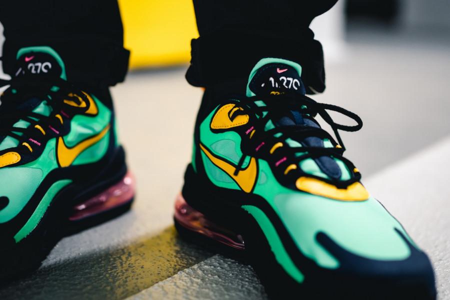Nike Air Max 270 React vert noire et jaune (4)