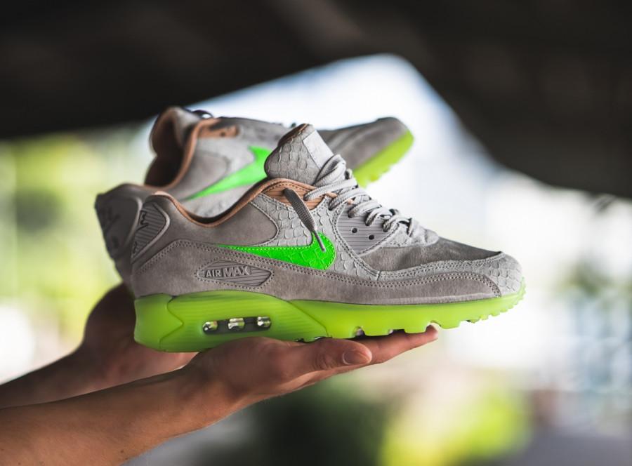 Nike-Air-Max-90-Premium-grise-beige-et-vert-fluo-1