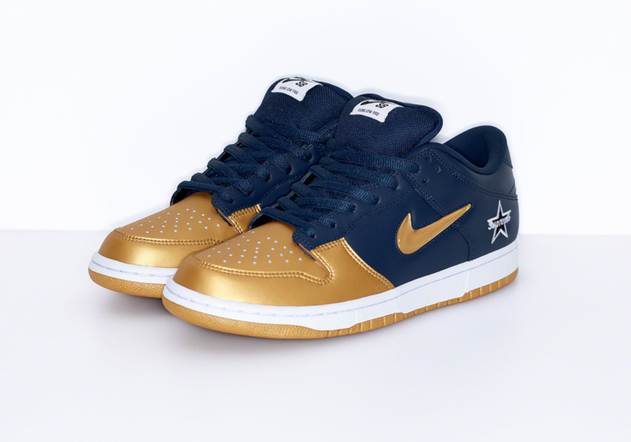 Nike Dunk Low SB bleu marine dorée CK3480-700 (2)