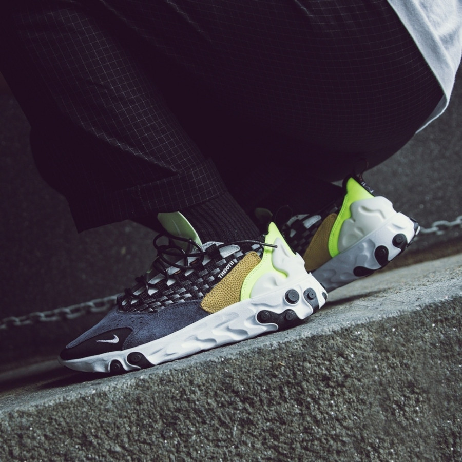 Nike React Sertu noire bleu foncé et jaune fluo (1-1)