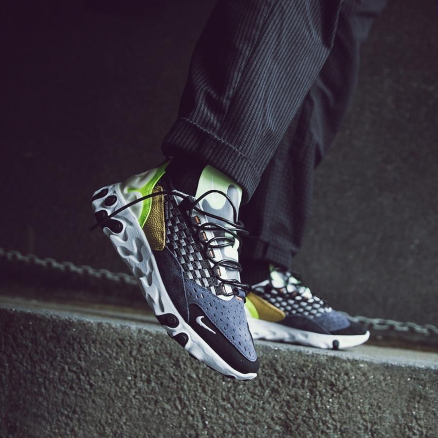 Nike React Sertu noire bleu foncé et jaune fluo (1-2)
