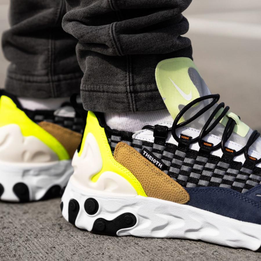 Nike React Sertu noire bleu foncé et jaune fluo (2)