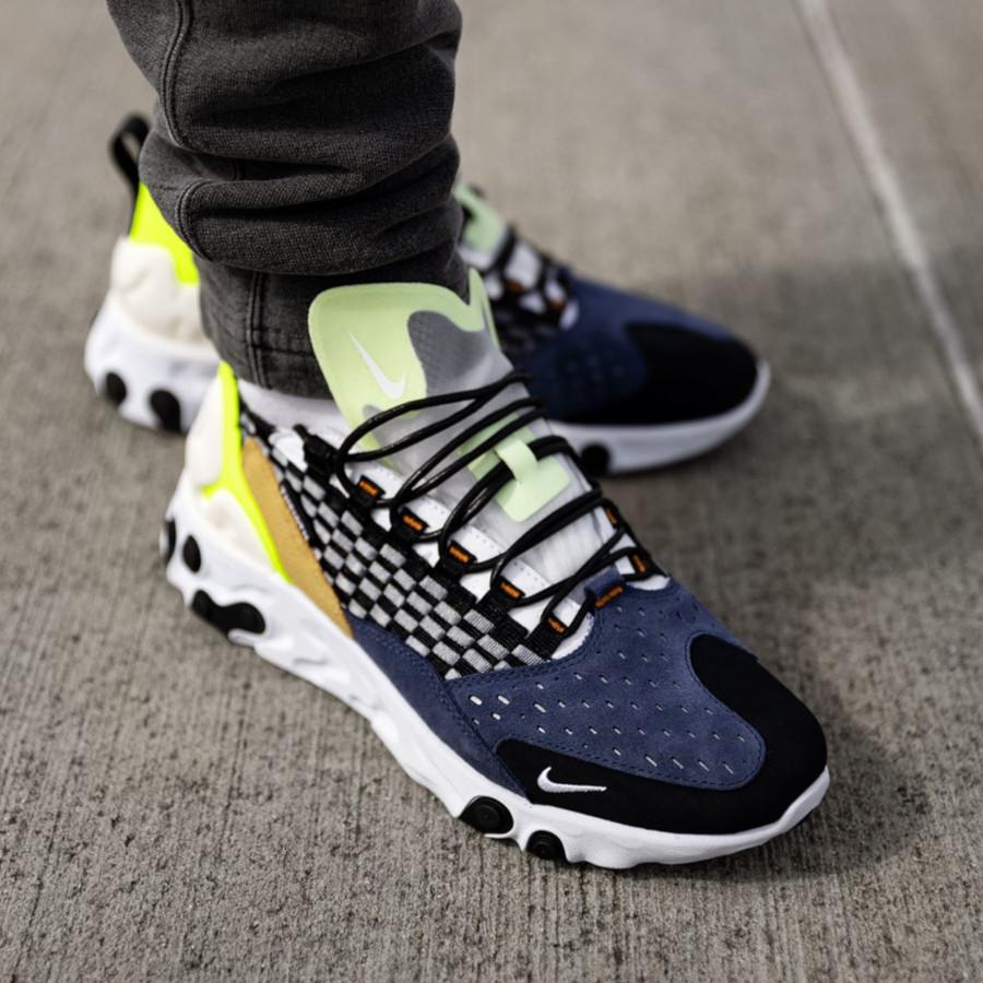 Nike React Sertu noire bleu foncé et jaune fluo (4)