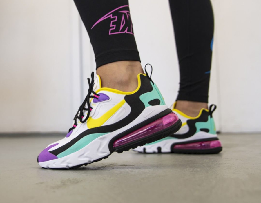 Nike Wmns Air Max 270 React Geometric Abstract Dynamic Yellow on feet (3)