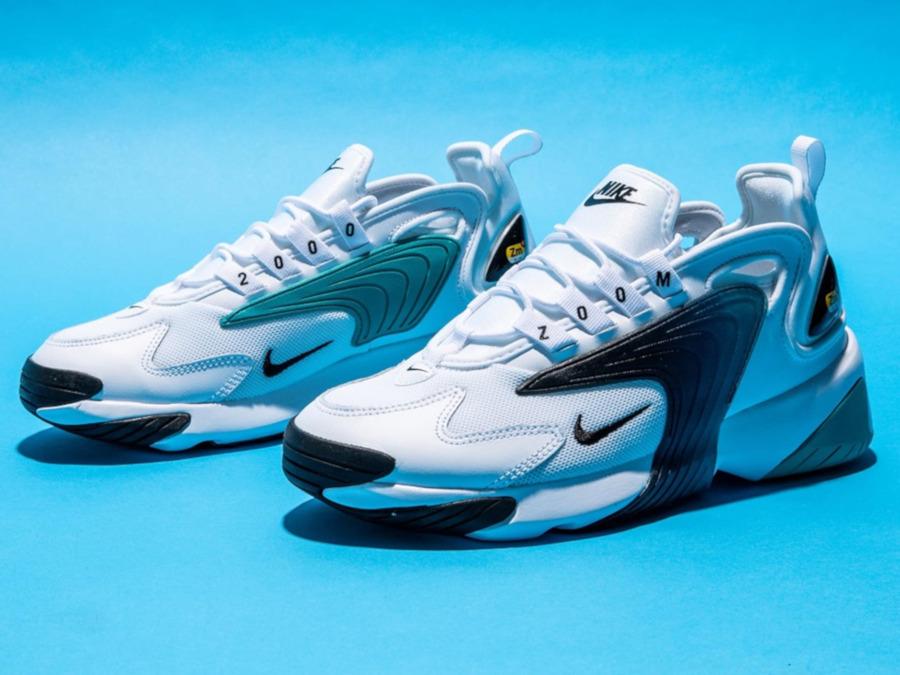 Nike Zoom 2K blanche noire et bleu turquoise (3)