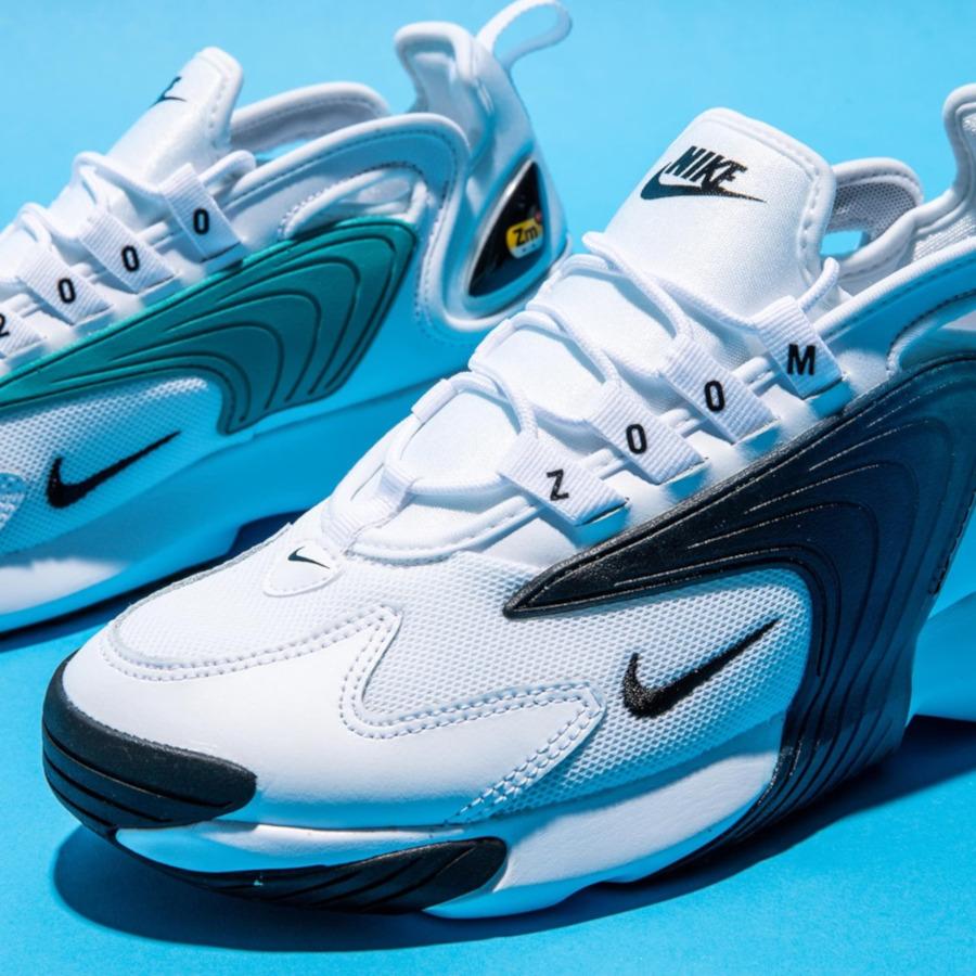 Nike Zoom 2K blanche noire et bleu turquoise (4)