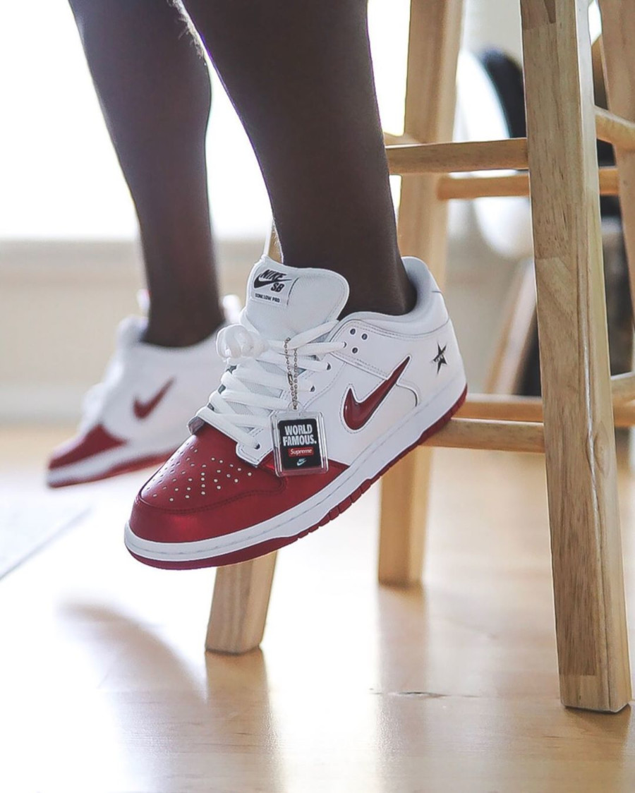 Supreme x Nike SB Dunk Low Pro White Red - @raadius