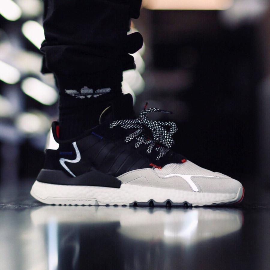 Adidas Nite Jogger Boost Reflective noire blanche et grise (4)