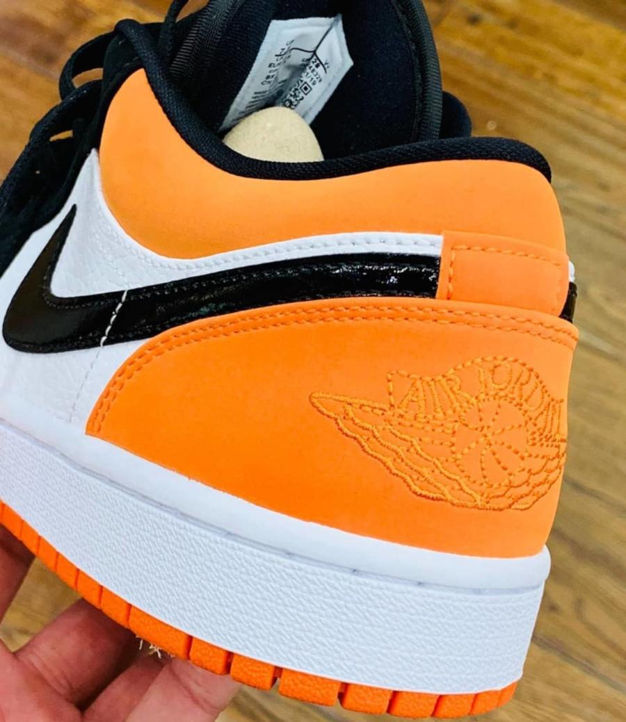 Air Jordan 1 basse blanche noire et orange 553558-128 (3)