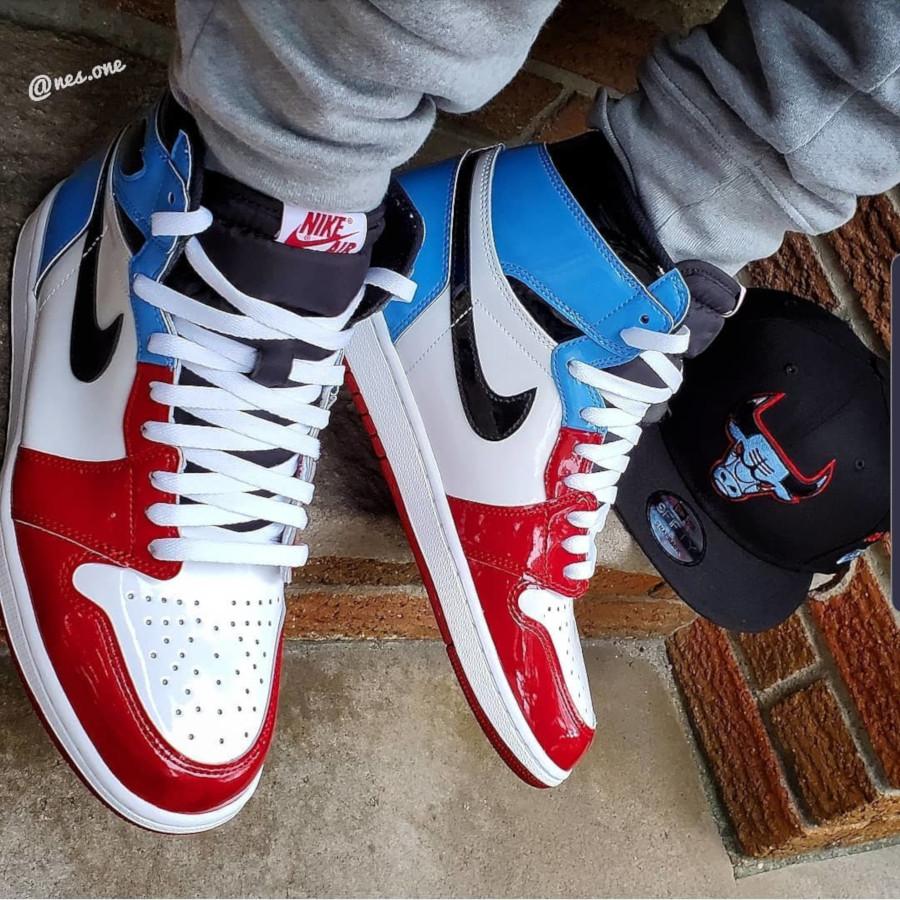 Air Jordan 1 montante en cuir brillant rouge et bleue CK5666-100 (3)