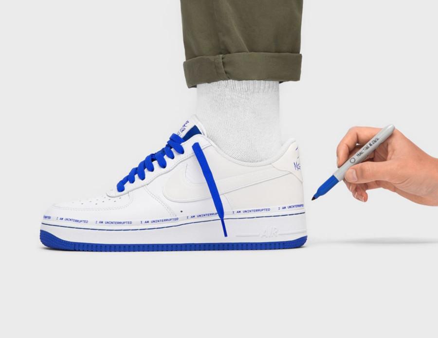 Nike Air Force 1 White Racer Blue on feet