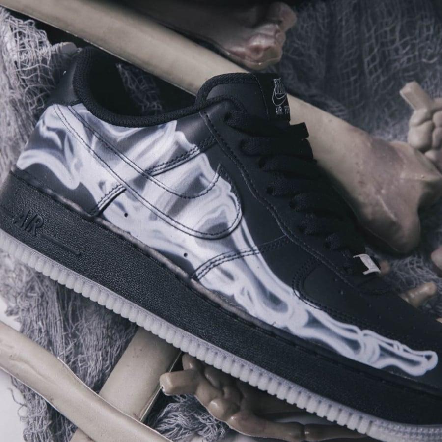 Nike Air Force 1 basse noire avec imprimé squelette (3)