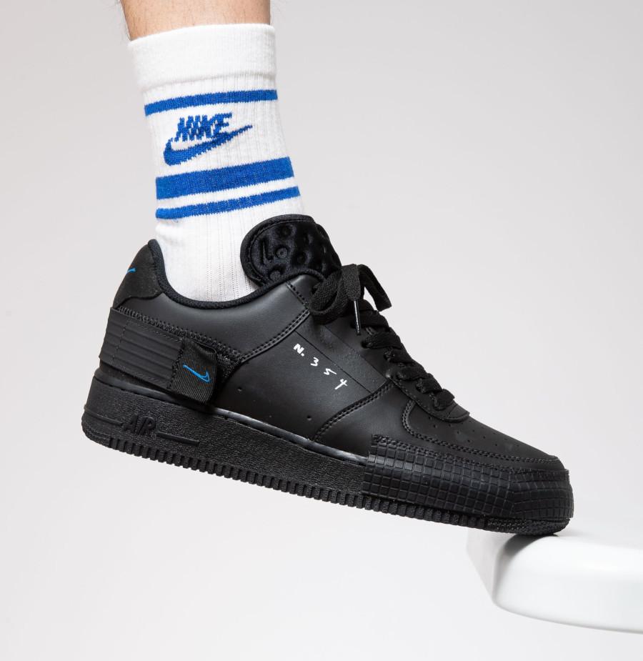 Nike Air Force 1 noire et bleue AT7859 001 (3)