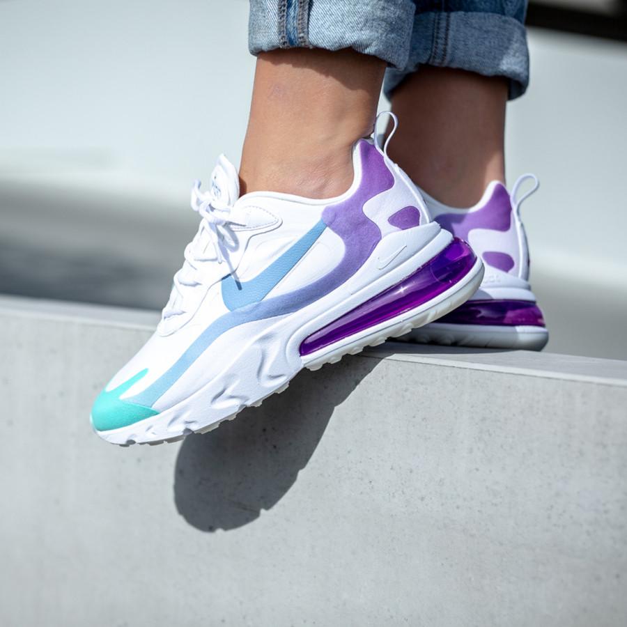 Nike Air Max 270 React blanche dégradé violet et turquoise (2)