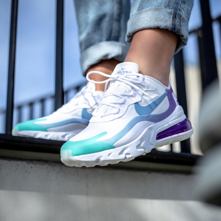 Nike Air Max 270 React blanche dégradé violet et turquoise (3)