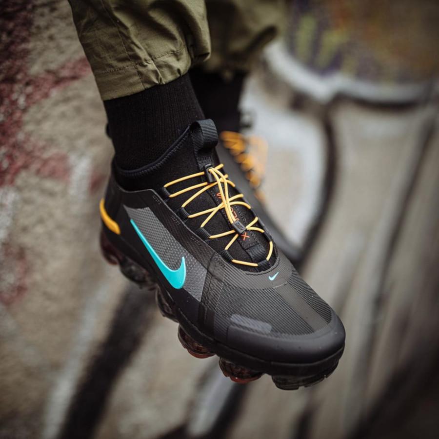 Nike Air VaporMax 2019 Utility noire jaune et turquoise (3)