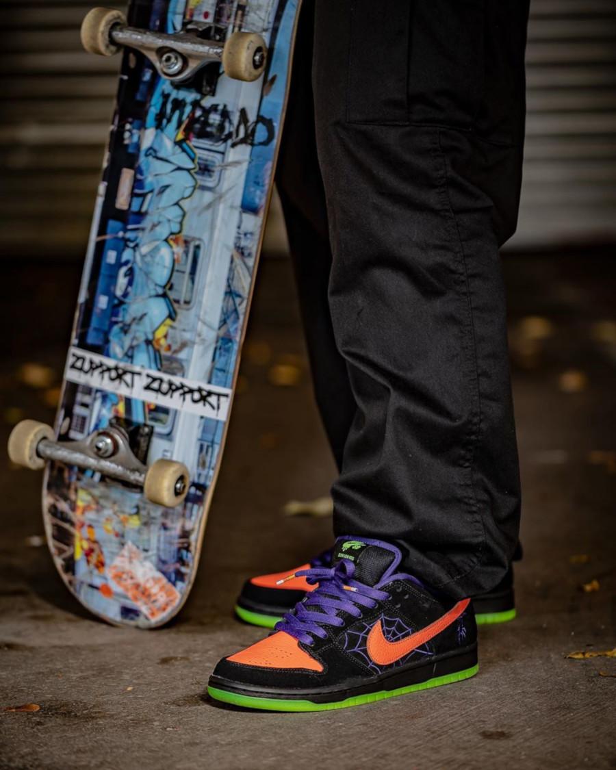 Nike Dunk Low Skateboarding noire violet et orange BQ6817-006 (5)