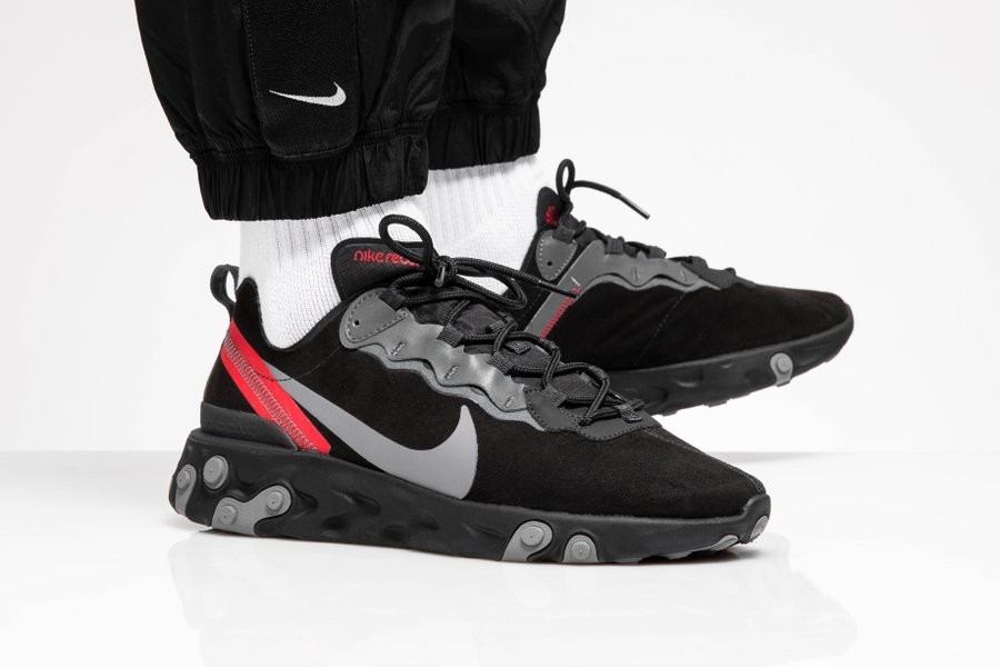 Nike React Element 55 en daim Off Noir CQ6366-001