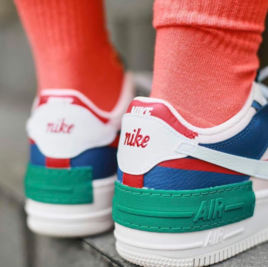 Nike Womens AF1 blanche rose bleu et verte (2)