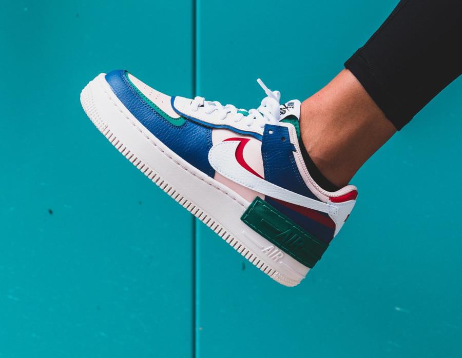 Nike Womens AF1 blanche rose bleu et verte (5)