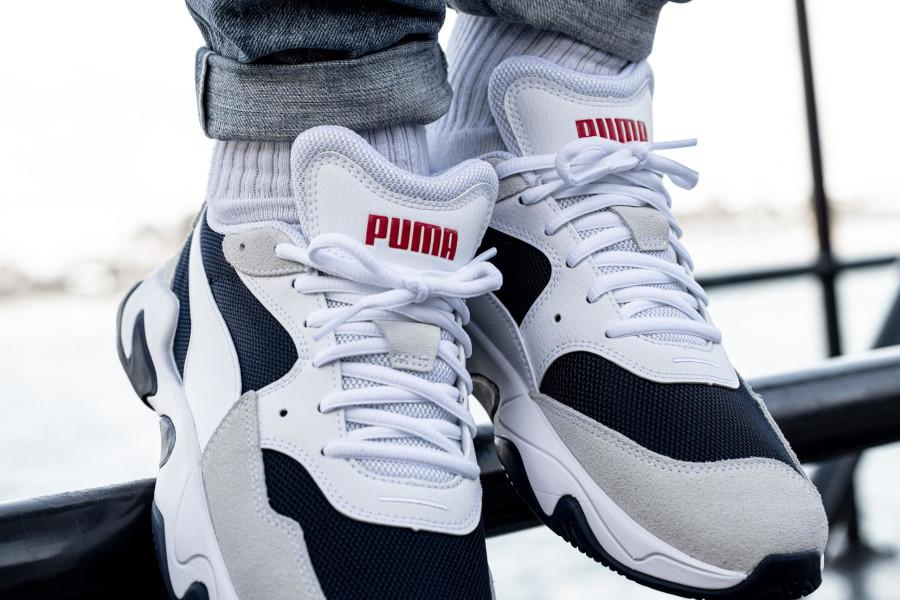 Puma Storm Adrenaline blanche grise et bleu marine (1)