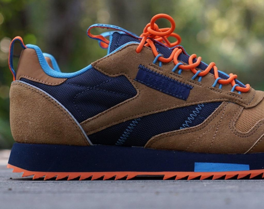 Reebok Classic Leather Ripple marron orange et bleu marine (EG8707) (4)