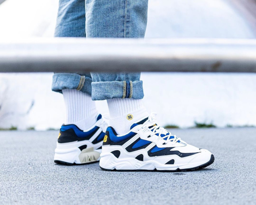 New Balance 850. White Classic Blue on feet (2)