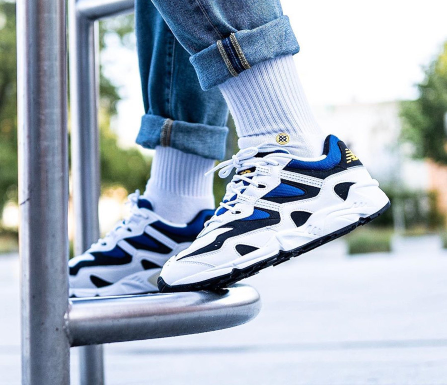 New Balance 850. White Classic Blue on feet (3)