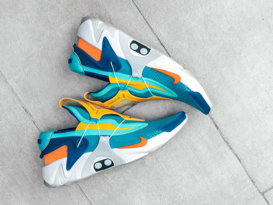 Nike Adapt Huarache bleu sarcelle jaune orange et verte (3)