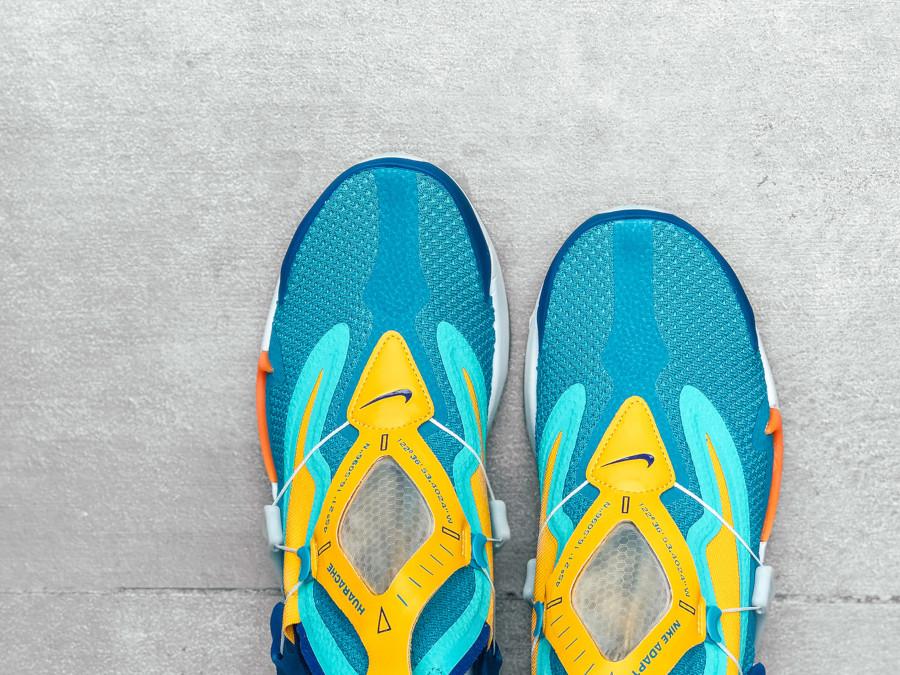 Nike Adapt Huarache bleu sarcelle jaune orange et verte (4)