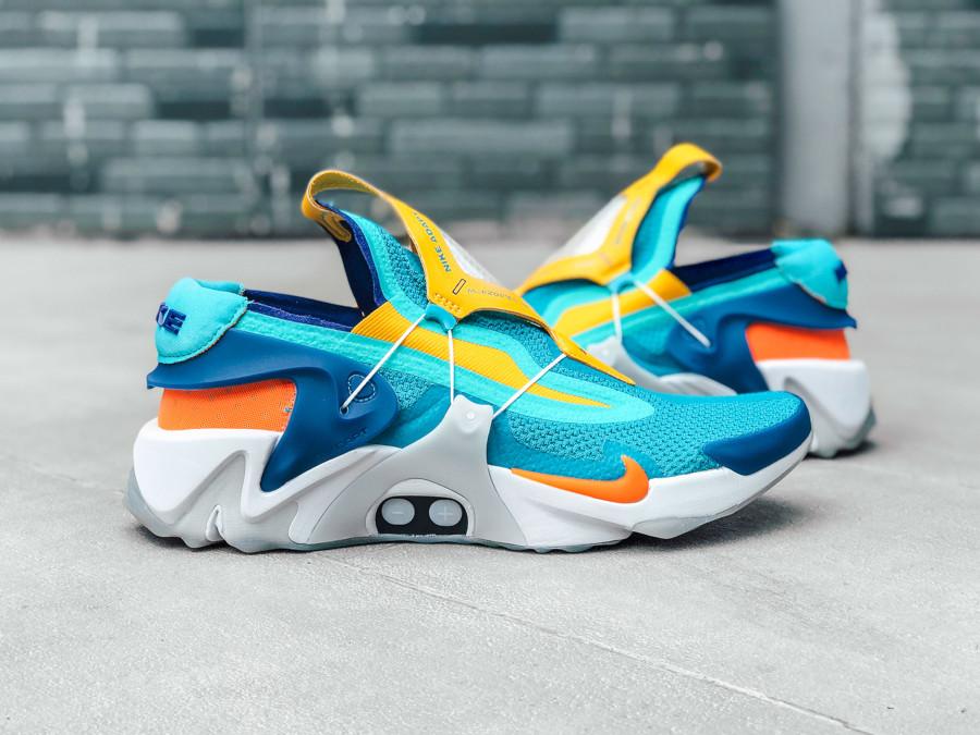 Nike Adapt Huarache bleu sarcelle jaune orange et verte (6)