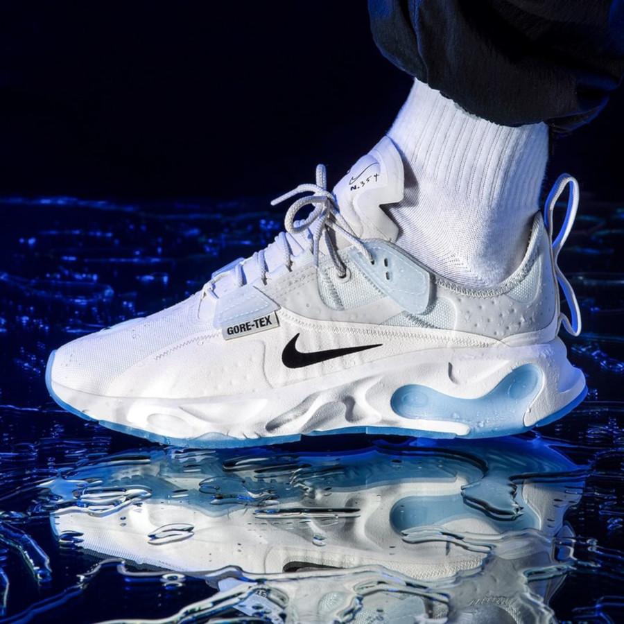 Nike React Type blanche avec semelle icy transparente (3)
