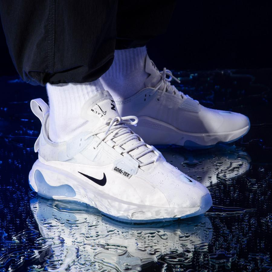 Nike React Type blanche avec semelle icy transparente (4)