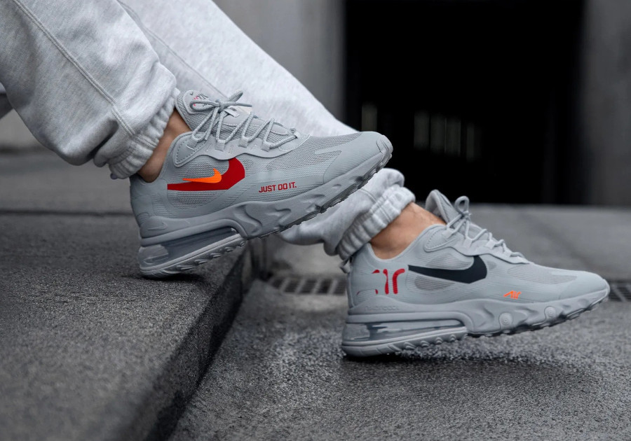 Nike Air Max 270 React Just Do It Wolf Grey on feet (1)