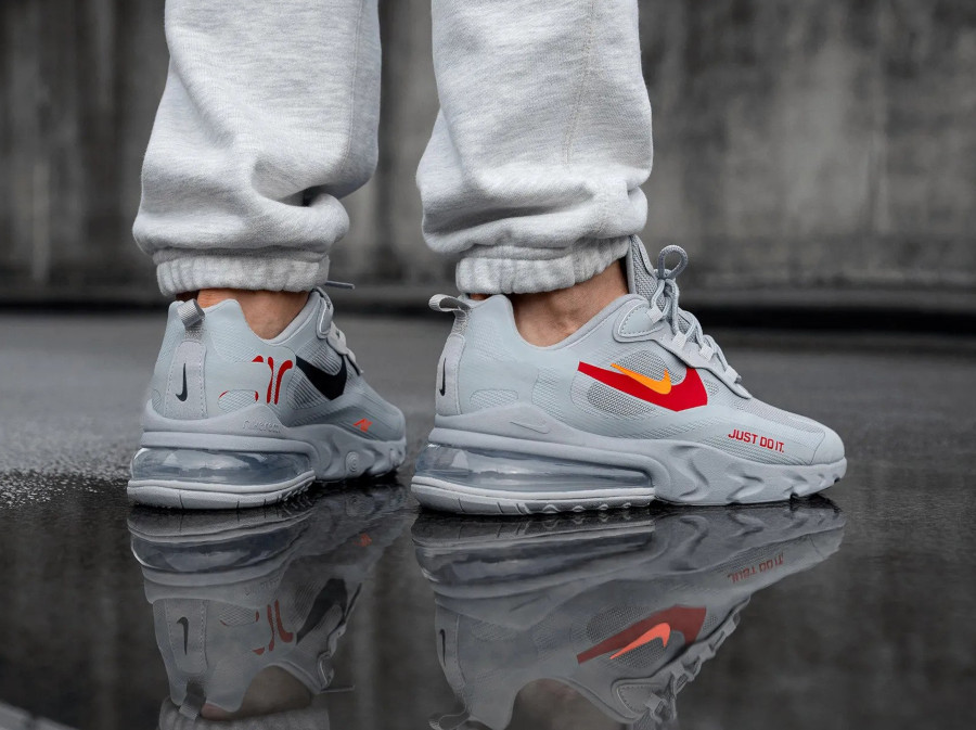 Nike Air Max 270 React Just Do It Wolf Grey on feet (2)