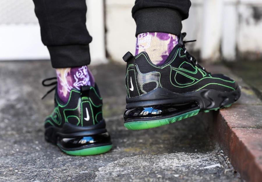Nike Air Max 270 React SP 'Black Electric Green' on feet (1)