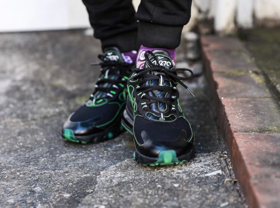 Nike Air Max 270 React SP 'Black Electric Green' on feet (2)