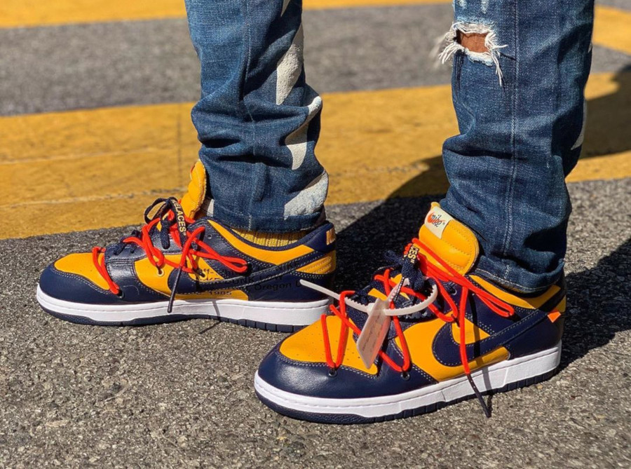 Off White x Nike Dunk Low University Gold Midnight Navy (CT0856-700)