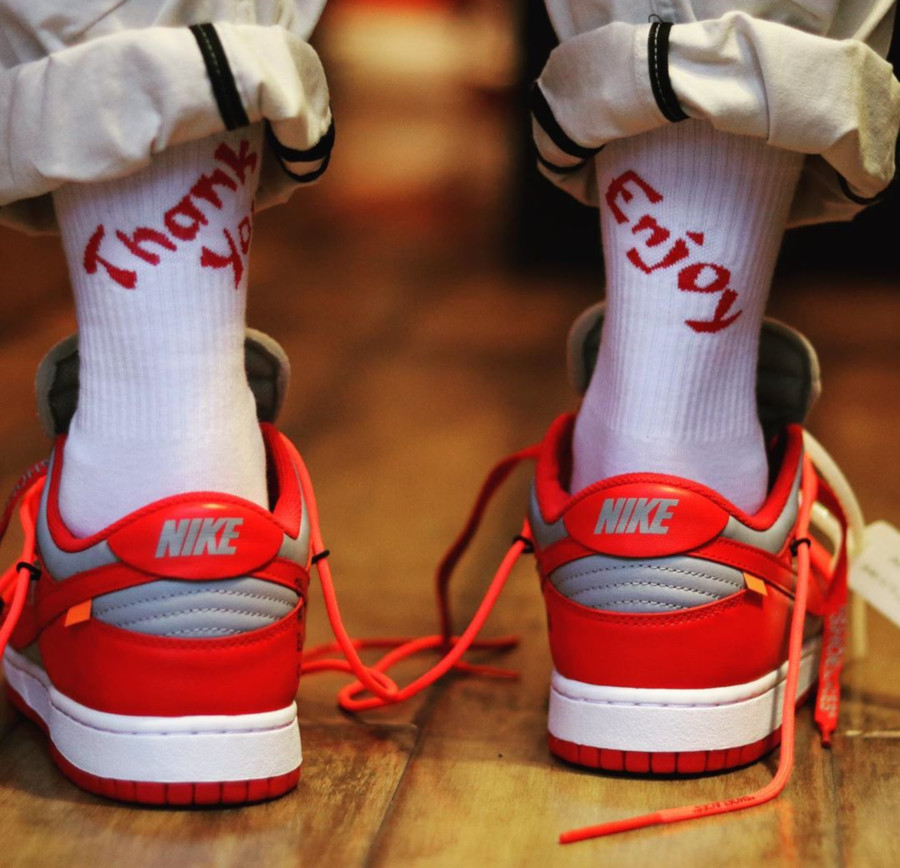 Off White x Nike Dunk Low University Red Wolf Grey (1)