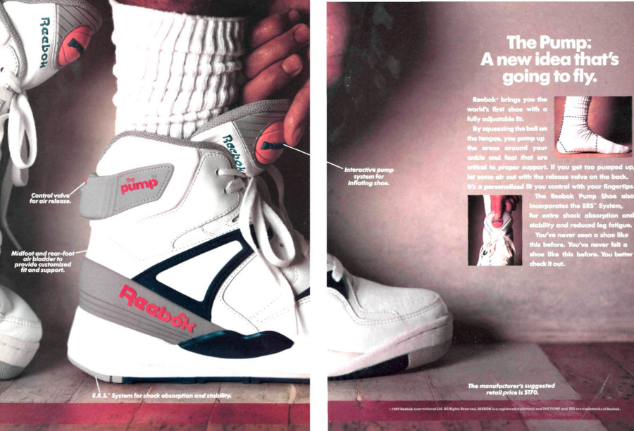 Publicité Reebok Pump Bringback Pump it Up 1989 (NBACobwebs)