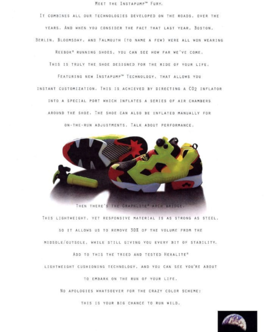 publicité Reebok Instapump Fury 1994 - @kicksreason