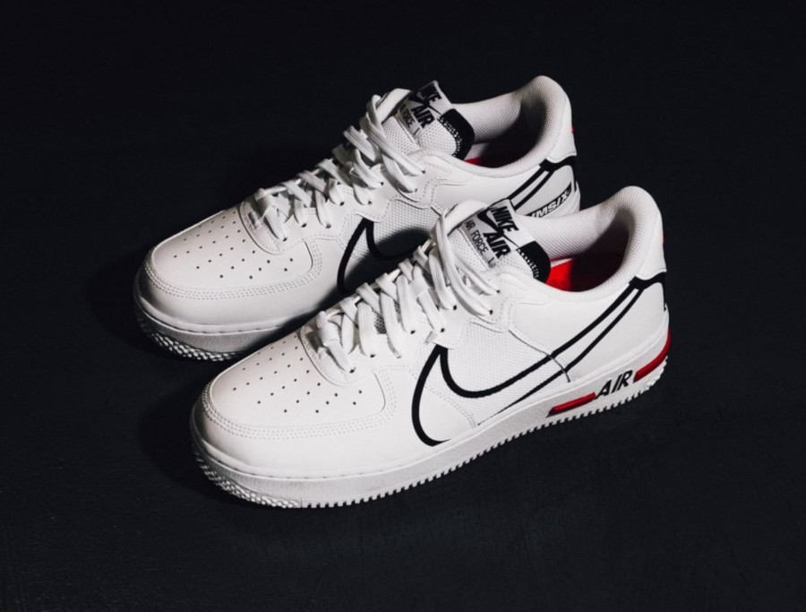 Nike Air Force 1 React DMSX White Black University Red (1)