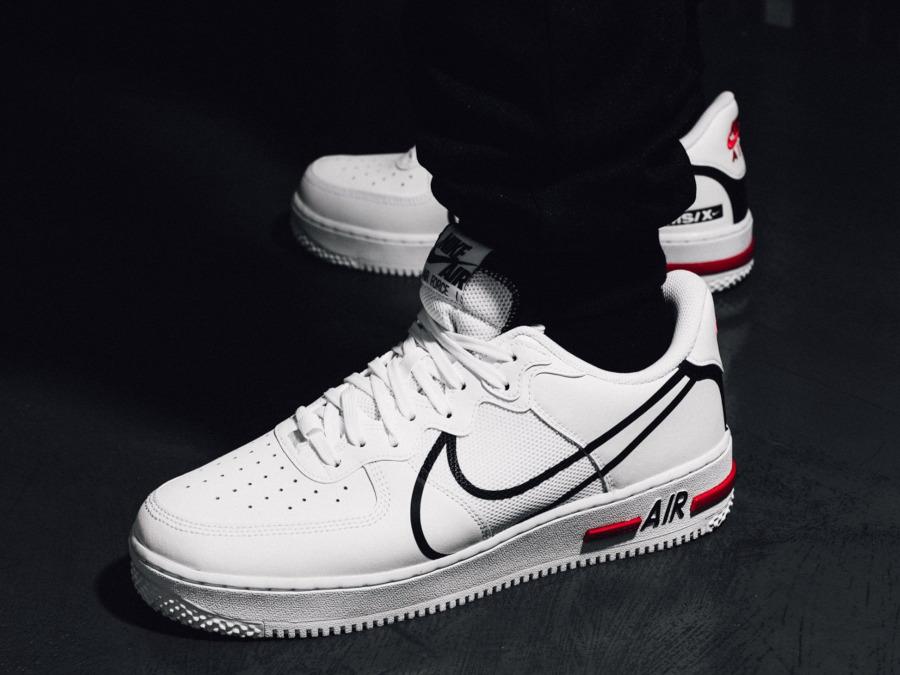 Nike Air Force 1 React DMSX White Black University Red (3)