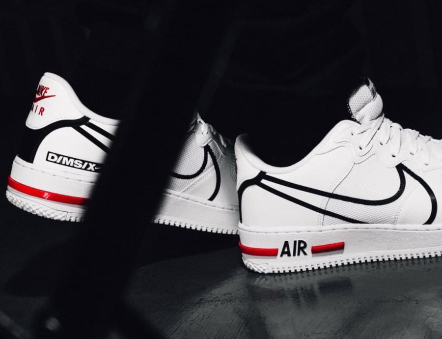 Nike Air Force 1 React DMSX White Black University Red (5)