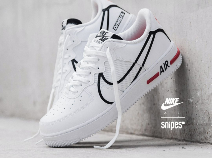 Nike Air Force 1 React DMSX White Black University Red (6-1-1)