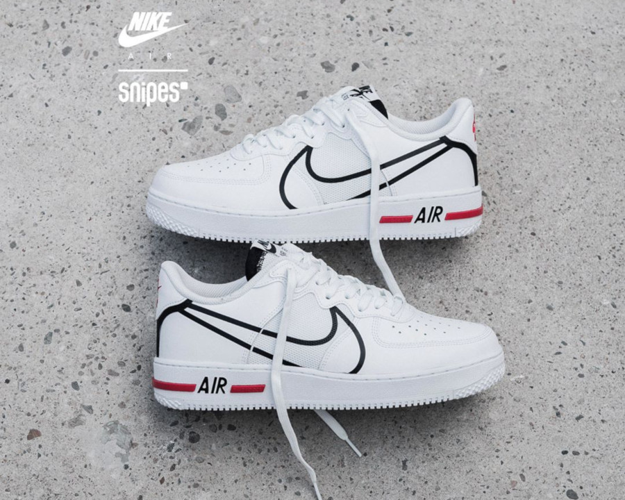 Nike Air Force 1 React DMSX White Black University Red (6-1)