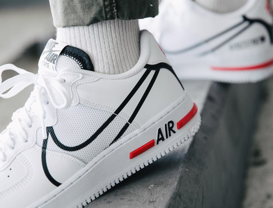 Nike Air Force 1 React DMSX White Black University Red (8)