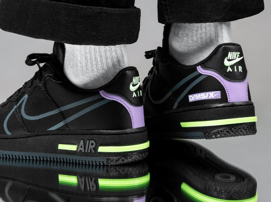 Nike Air Force 1 React Dimsix 'Black Violet Star Barely Volt' (2)