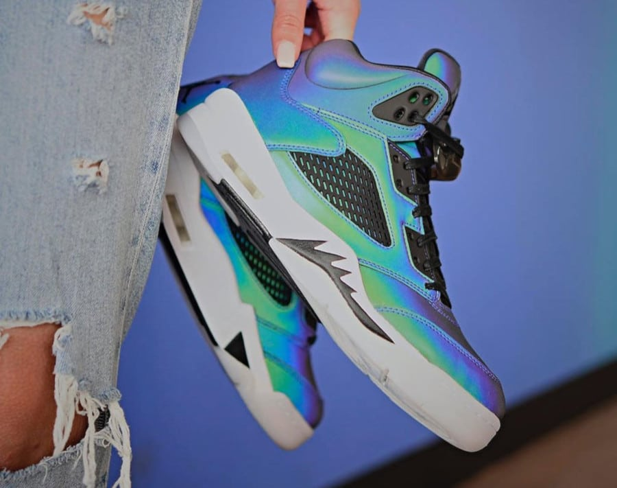 Women's Air Jordan 5 Retro Iridescent Oil Grey (2)