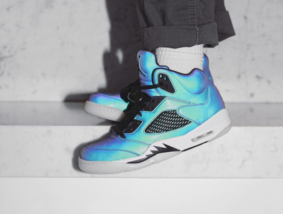 Women's Air Jordan 5 Retro Iridescent Oil Grey (4)